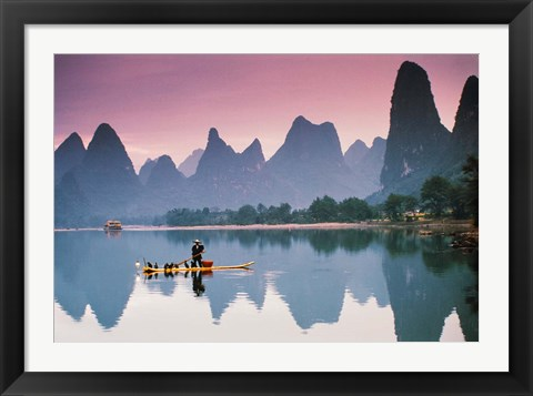 Framed Cormorant fishing at dusk, Li river, Guangxi, China Print