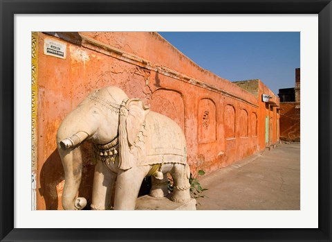 Framed Old Temple with Stone Elephant, Downtown Center of the Pink City, Jaipur, Rajasthan, India Print