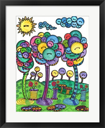 Framed Button Trees Print