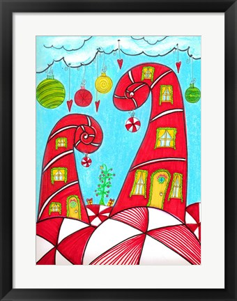 Framed Candy Cane Houses II Print
