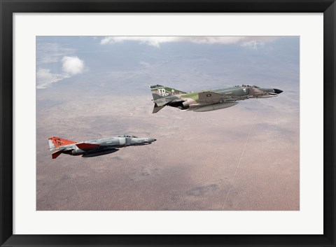 Framed Two QF-4E Phantom II drones in formation over the New Mexico desert Print