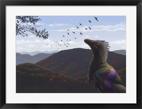 Framed Velociraptor in an autumn landscape Print