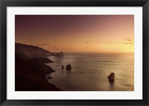 Framed Aerial view of sea and mountains at sunset, Nebida, Sardinia, Italy Print