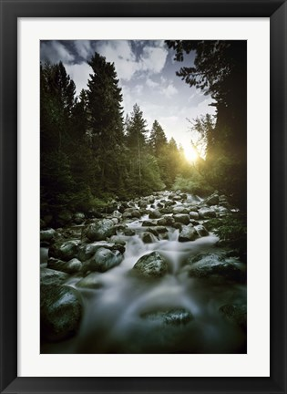 Framed Small river flowing over large stones at sunset, Pirin National Park, Bulgaria Print