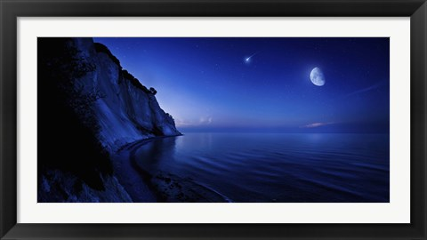Framed Moon rising over tranquil sea and Mons Klint cliffs, Denmark Print