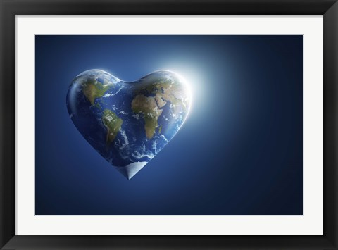 Framed Heart-shaped planet Earth on a dark blue background Print