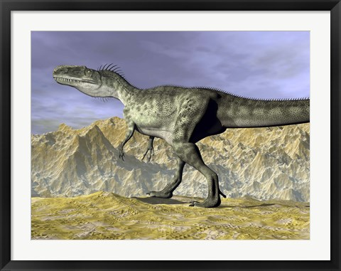 Framed Monolophosaurus dinosaur walking on rocky terrain near mountain Print