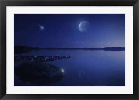 Framed Starry sky, moon and falling meteorite over a lake, Finland Print