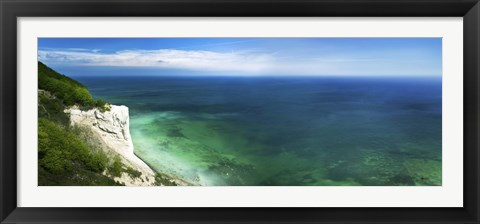 Framed Aerial view of chalk mountain and sea, Mons Klint cliffs, Denmark Print