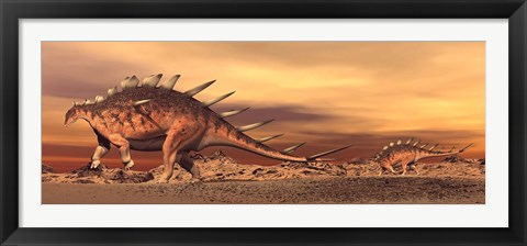 Framed Kentrosaurus mother and baby walking in the desert by sunset Print
