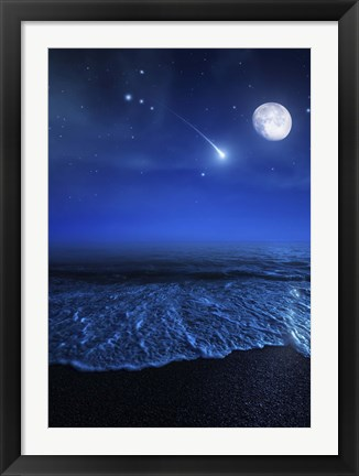 Framed Tranquil ocean at night against starry sky, moon and falling meteorite Print
