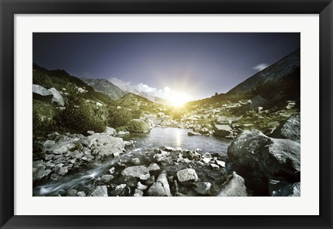 Framed Small river, Pirin National Park, Bulgaria Print