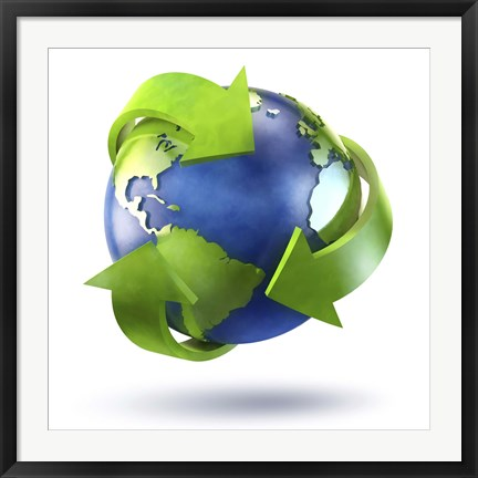 Framed 3D Rendering of planet Earth surrounded by the recycle symbol Print