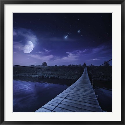 Framed bridge across the river at night against starry sky, Russia Print