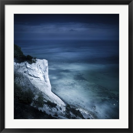 Framed Chalk mountain and sea, Mons Klint cliffs, Denmark Print