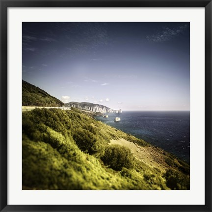 Framed Aerial view of sea and mountains, Nebida, Sardinia, Italy Print