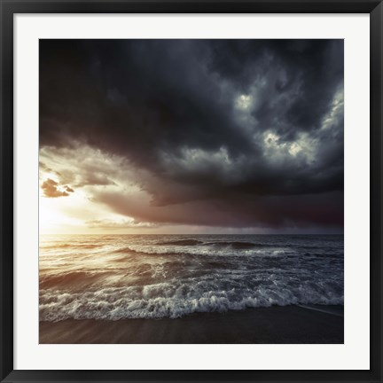 Framed Bright sunset against a wavy sea with stormy clouds, Hersonissos, Crete Print