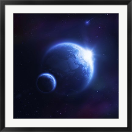 Framed Earth and moon in outer space with rising sun and flying meteorites Print