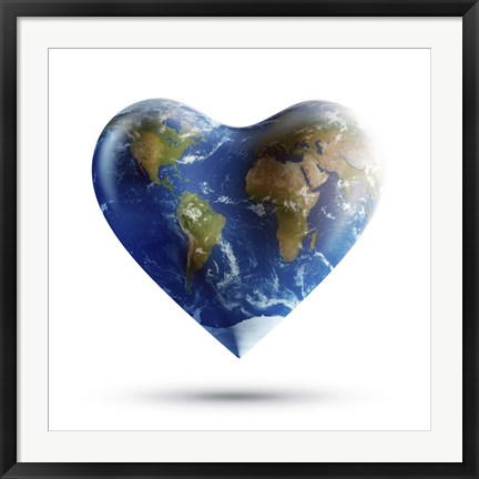 Framed Heart-shaped planet Earth on a white background Print