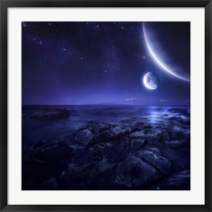 Framed Nearby planets hover over the ocean on this world at night Print