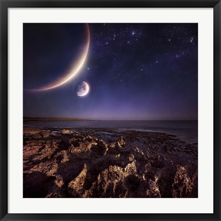 Framed Rising plantes hover over ocean and rocky shore against starry sky Print