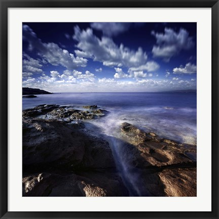 Framed Rocky shore and tranquil sea, Portoscuso, Sardinia, Italy Print