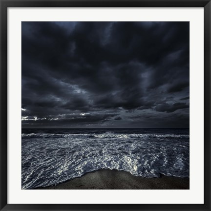 Framed Rough seaside against stormy clouds, Hersonissos, Crete, Greece Print