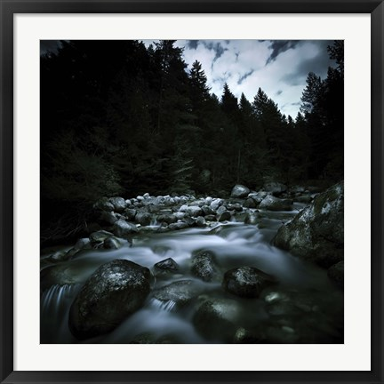 Framed Small river flowing over stones covered with moss, Pirin National Park, Bulgaria Print