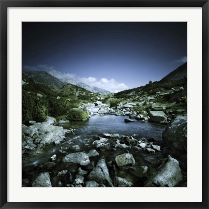 Framed Small river flowing through big stones in Pirin National Park, Bulgaria Print