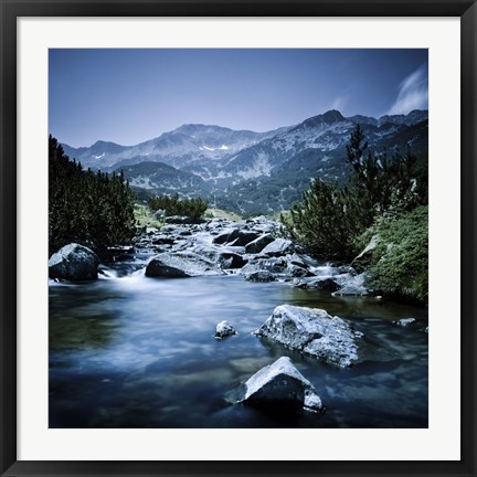 Framed Small river flowing through the mountains of Pirin National Park, Bulgaria Print