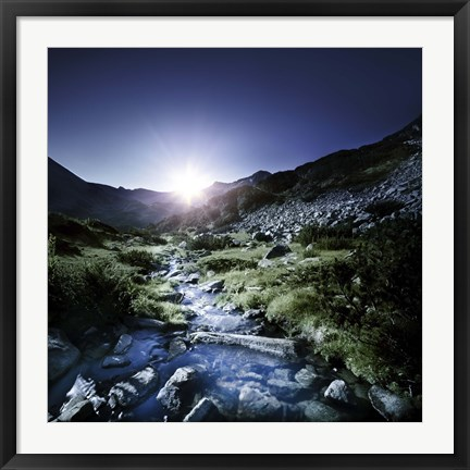 Framed Small stream in the mountains at sunset, Pirin National Park, Bulgaria Print