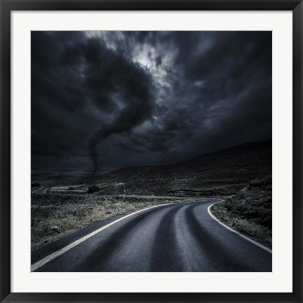 Framed Tornado near a winding road in the mountains, Crete, Greece Print