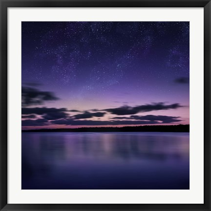 Framed Tranquil lake against starry sky, Russia Print