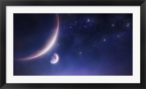 Framed Two planets against a starry sky Print