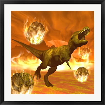 Framed Tyrannosaurus Rex struggles to escape from a meteorite crash Print