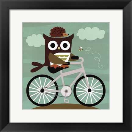 Framed Owl and Hedgehog on Bicycle Print