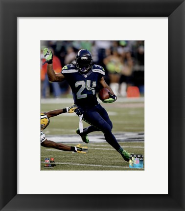 Framed Marshawn Lynch football 2014 Print
