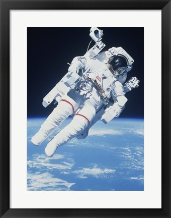 Framed AstronautTaking a Spacewalk Print