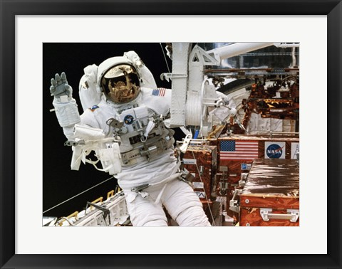 Framed Astronaut in a Space Shuttle Print