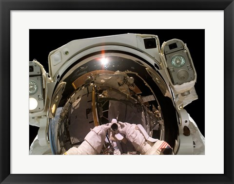 Framed Astronaut Taking a Self-Portrait in space Print