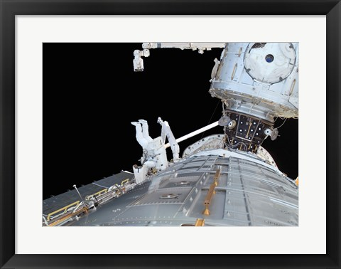 Framed STS-124 Mission Specialist, Participates in the Mission's First Scheduled Maintenance Session Print