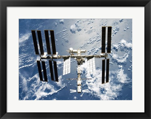 Framed International Space Station is seen from Space Shuttle Discovery Print
