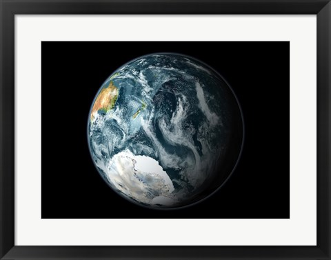 Framed Satellite view of the Earth's Southern Hemisphere Print