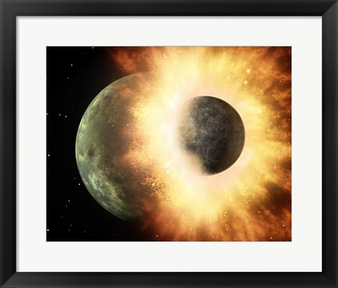 Framed Concept  of our moon slamming at great speed into a body the size of Mercury Print