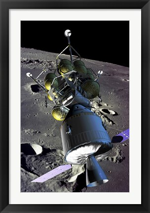 Framed Spaceship orbiting the moon Print