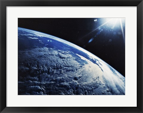 Framed Satellite View of a Planet Earth Print
