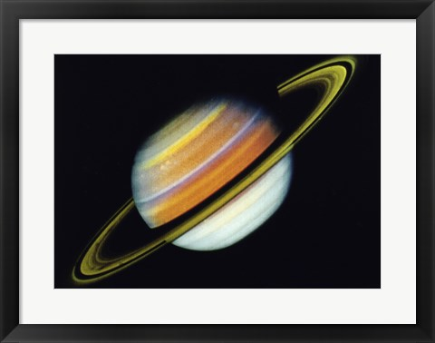 Framed Saturn Taken By Voyager 2 From A Distance of 27 Million Miles Print