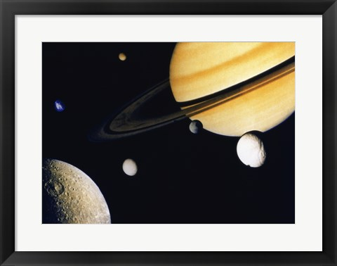 Framed Saturn and its Satellites.  Clockwise from right: Tethys, Mimas, Encleladus, Dione, Rhea & Titan Print