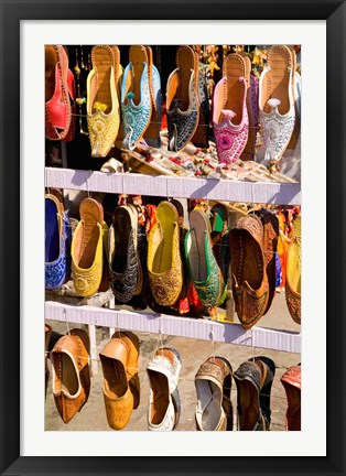 Framed Shoes For Sale in Downtown Center of the Pink City, Jaipur, Rajasthan, India Print