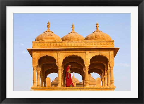 Framed Native woman, Tombs of the Concubines, Jaiselmer, Rajasthan, India Print